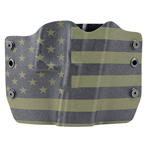 Green & Black USA Flag Kydex OWB Holsters for More Than 200 Different Handguns. Left & Right Versions Plus Speed Clips Available.