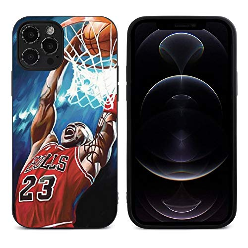 Phone Case for iPhone 12, High Impact Silicone TPU Shockproof Full Protection Phone Cover, Compatible with Case iPhone 12 Black-Michael-Chicago-Pattern 02