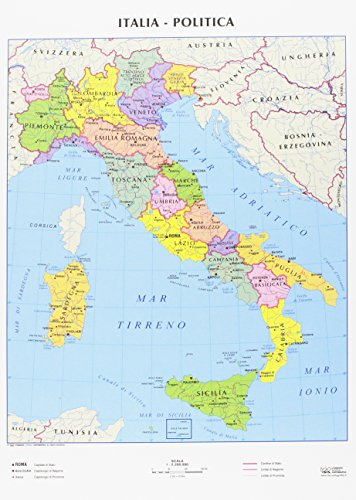 CWR Cartina geografica Italia fisica e politica, formato A4, confezione da 10