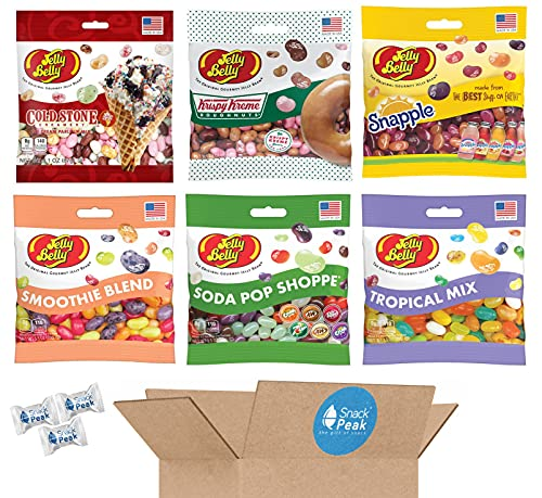 Jelly Belly Jelly Beans Variety Snack Peak Gift Box – Krispy Kreme, Snapple, Tropical, Cold Stone, Soda Pop Shoppe and Smoothie Blend