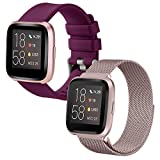 SINPY Correa para Fitbit Versa,2-Pack Mixto Correas Pulsera Repuesto Accesorios Compatible con Fitbit Versa 2/Fitbit Versa Lite Smartwatch,Metal Rosado/Silicona Burdeos
