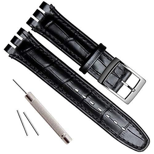 Correa de reloj de repuesto de acero con, piel de cocodrilo y vaca