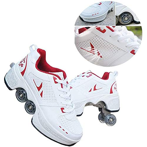 MLyzhe Kids Inline Skate Adjustable Quad Roller Skates Boots Multifunctional Deformed Shoes Children Students Adult Outdoor Sports Skating Travel Best Choice,Red,31(US~3.5)
