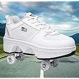 女性用ローラースケート、インラインスケート、2-in-1多目的靴、調整可能なクワッドローラースケートブーツユニセックス初心者向け2列変形靴ギフト,EUR37
