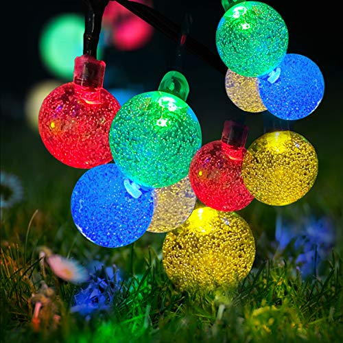 LED Solar Powered String Outdoor Lights Waterproof 23ft 50 LED Solar Powered Crystal Ball Decorative Lights with 8 Modes for Garden, Patio, Yard, Home, Christmas Tree, Parties(Multi-Color)
