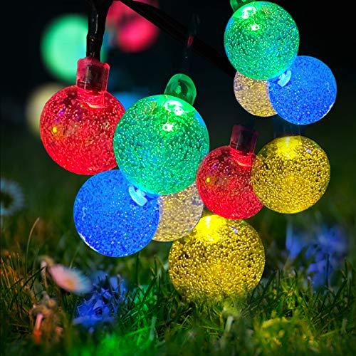 Guirnalda de luces LED con energía solar, resistente al agua, 7 m, 50 luces LED de bola de cristal con 8 modos para jardín, patio, patio, hogar, árbol de Navidad, fiestas (multicolor)