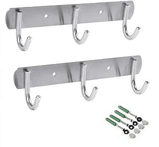 Newness Wall-Mounted Coat Rack, 3-Hooks Coat Hooks Rail Heavy Duty Towel Rack, Modern Stainless Steel Door Holder for Coat, Belt, Keys, Headset, Clothes, Hanger Rack for Bathroom Kitchen (2 Pack)