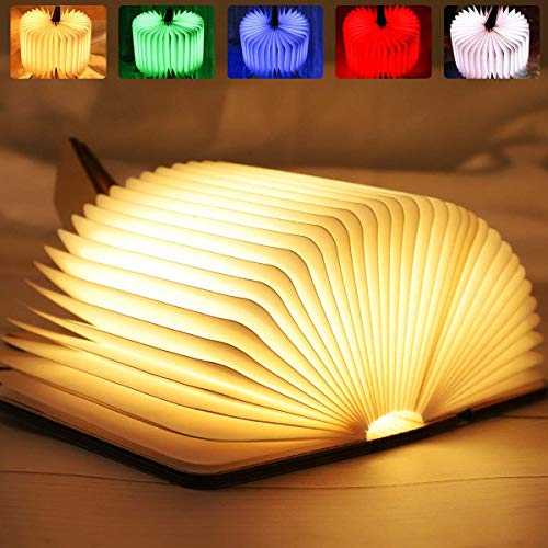 LED Buchlampe, 8 Farbmodi Buch lampe, Hölzerne faltende Buch-Lampe, USB wiederaufladbar Tischleuchte, Nachttischlampe, dekorative Lampen, 360°Faltbar [Energieklasse A+++] (2020 Version)