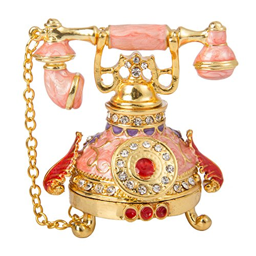 QIFU Vintage Style Telephone Shape Jewelry Trinket Box with Rich Enamel and Sparkling Rhinestones Unique Gift for Home Decor Shine Ornament for Your Collection
