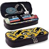 Monopatines Funda de lápiz de cuero para bolsos Estuche para bolígrafo con cremallera, Estuche de papelería de gran capacidad