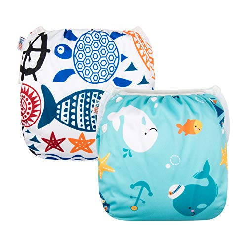 ALVABABY Swim Diapers 2pcs Reuseable for Boys and Girls 0-2 Years DYK05-06