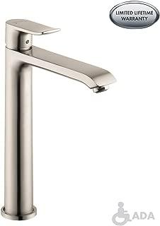hansgrohe Metris  Modern 1-Handle  10-inch Tall Bathroom Sink Faucet in Brushed Nickel, 31183821
