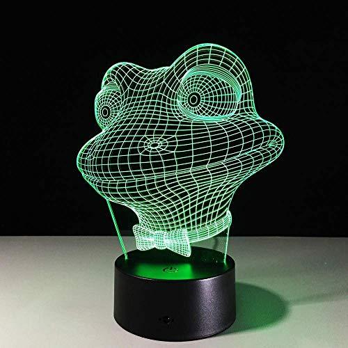 Leuke kikker 3D LED nachtlampje Hot Sale Touch Base Kleurrijke acryl dier stemming tafellamp sfeer illusie 3D lamp