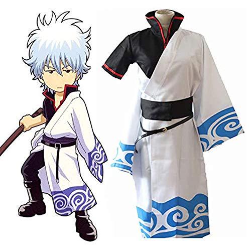 LJLis Anime Gintama Cosplay Kostüme Sakata Gintoki Cosplay Kostüm Kimono Halloween Karneval Party Silver Soul Cosplay Kostüm,M