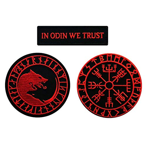 in Odin We Trust Úlfhédnar Wolf Viking Compass Vegvisir Patch [3pc Bundle-Iron on -red/blk]