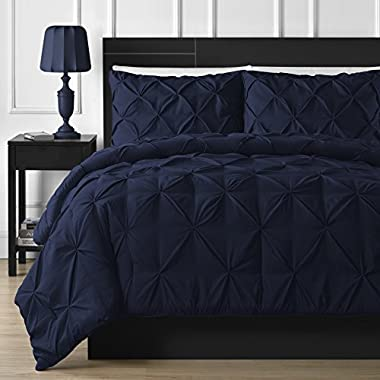 Double Needle Durable Stitching Comfy Bedding 3-piece Pinch Pleat Comforter Set All Season Pintuck Style (California King, Navy Blue)