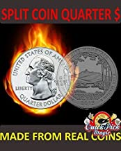 Magic Quarter Dollar Split Coin / US 25 Cent Split Coin Magic / Coin Thru Bag