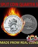 Magic Quarter Dollar Split Coin / US 25 Cent Split Coin Magic / Coin Thru Bag / Clone Coin