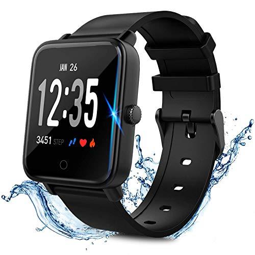 LIDOFIGO Smartwatch Wasserdicht IP68 Smart Watch Uhr mit Pulsmesser Fitness Tracker Sport Uhr Fitness Uhr mit Schrittzähler,Schlaf-Monitor,Stoppuhr,Call SMS Benachrichtigung Push für Android und iOS