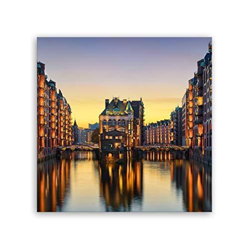 Bilderdepot24 hochwertiges Leinwandbild - Wasserschloss in der Speicherstadt - Hamburg - 50 x 50 cm einteilig 1018