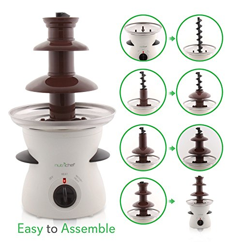 NutriChef 3 Tier Chocolate Fondue Fountain - Electric Stainless Choco Melts Dipping Warmer Machine - Melting, Warming, Keep Warm - for Melted Chocolate, Candy, Butter, Cheese, Caramel Dip - NutriChef PKFNMK16, White