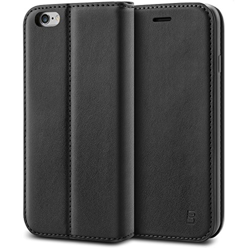 BEZ Hülle für iPhone 6S Hülle, Handyhülle Kompatibel für iPhone 6, iPhone 6 6S Tasche, Case Schutzhüllen aus Klappetui mit Kreditkartenhaltern, Ständer, Magnetverschluss - Schwarz