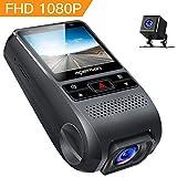 APEMAN Dash Cam Dual Dash Camera Car DVR Dashboard Recorder FHD 1080P 170° Wide Angle with G-Sensor, WDR, Loop Recording, Motion Detection