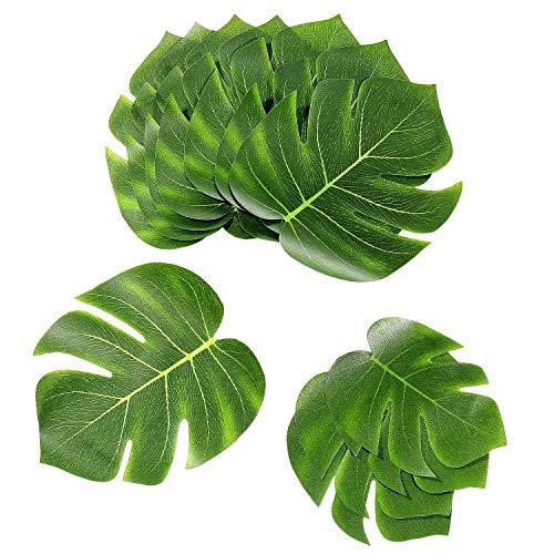 Joeyer 45 Stück Tropische Blätter Künstliche Palmblätter Dschungel Strand Thema Party Hochzeit Dekorationen Tischdekoration