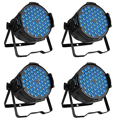 Betopper DJ Par Stage Lights LED Uplights 54x3W RGB Wash Light DMX Lighting for Wedding,Church,Party,Music Live Show,Club etc.(4 Packs)