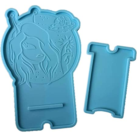 Allinlove 2 Pack Mobile Phone Stand Silicone Resin Mold Phone Holder Epoxy Resin Moulds Craft Cell Phone Stand Silicone Mold Resin Clay Mold for DIY Jewelry Craft Making Cake Decoration