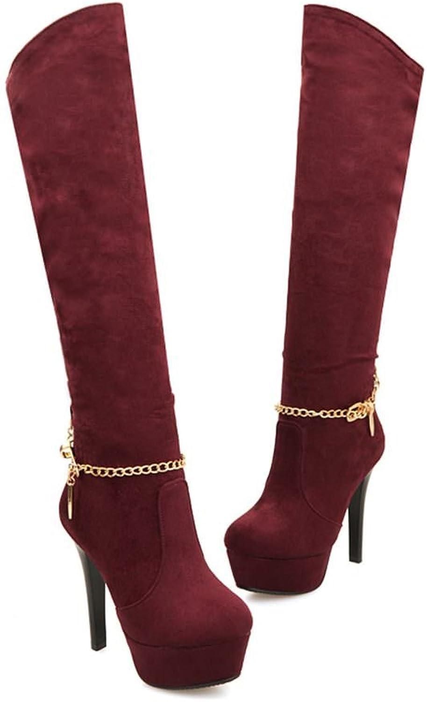 DecoStain Women's Over The Knee Nubuck Chain Bracelet Silver Metal Ring Slip On Boots