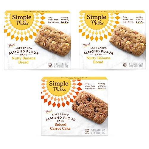 Simple Mills, Snacks Variety Pack, Nutty Banana Bread, Spiced Carrot Cake Variety Pack, Good for Snacks, 3 Count (Packaging May Vary)