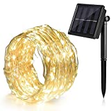 Ankway Solar String Lights, 100 LED Fairy Lights Solar Powered 8 Modes 39 ft Bendable Waterproof IP65 Copper Wire Decorative Lighting for Patio Garden Indoor Bedroom Christmas(Warm White)