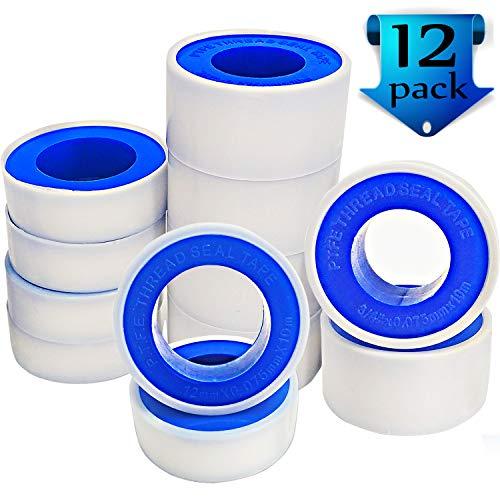 Teflon Tape–12Rollen PTFE Klebeband Gewinde Tape Gewinde Dichtung Tape Rohr-Versiegelungsmittel Klebeband für Klempner Sanitär für Duschen, und Fäden