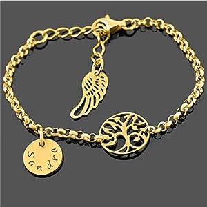 Bettelarmband gold mit Gravur für Mutter ❤️ Armband zur Geburt mit Namen und Lebensbaum ❤️ zartes Armkettchen Mama…