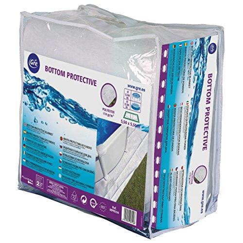 Gre MPROV610 - Couverture de protection de piscine de 530 x 280 cm, 610 x 375 cm ou 500 x 340 cm, couleur blanche