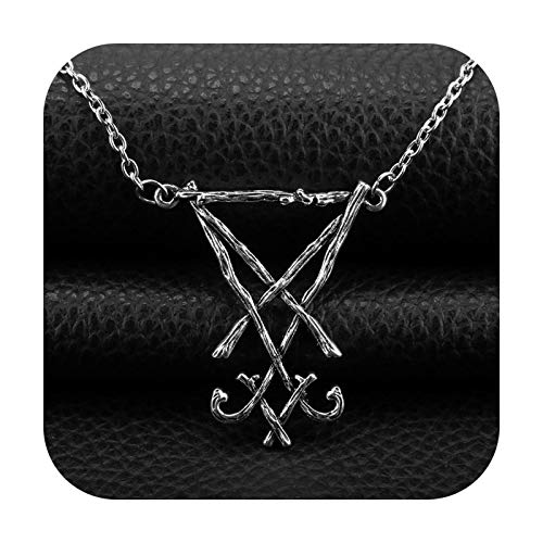 BSbattle Satan Pendant Necklace Seal Seal Demon Side Choronzon Chain Necklace Symbol of Gothic Pagan Ornament 2021-1