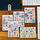 BLOUR 80 Piezas (4 Hojas) DIY Vintage Retro Stamp Planner Stickers London Paris Prince Alice Sticky Scrapbooking Paper Stationery Set