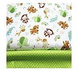 Fuya Baumwollstoff mit Affen, Punkten, Patchwork, Stoff, optimal für Stepparbeiten, Baby- und Kinder-Kleidung, 160cm x 100cm, 2 Stück