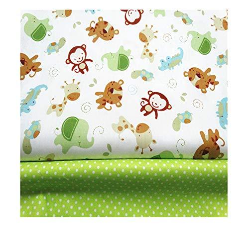 FUYA - Tejido de algodón para patchwork con motivo de mono, 160 x 100 cm, 2 piezas, para la decoración de ropa y sábanas infantiles