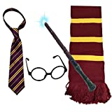 VIROSA 4PC Wizard School Boy Fancy Dress Costume Accessory | Includes Tie, Glasses, Magic Wand with Light, Scarf | Ideal for Wand Set Magician Outfit World Book Day, Book Week