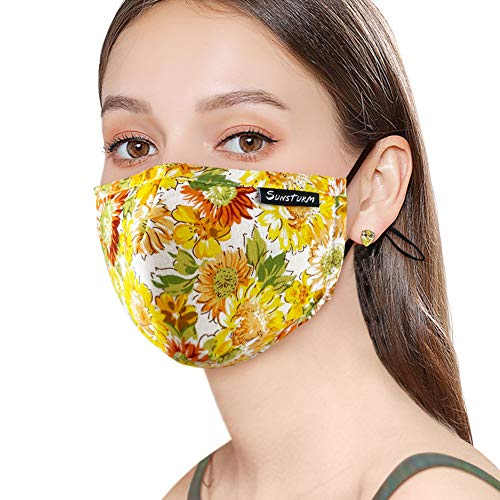 Sunsturm Dust Mask Reusable Cotton Face Mouth Mask with Activated Carbon Filter for Gardening Woodworking Mowing Outdoor Washable Mouth Mask (Color 2)