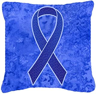 Caroline's Treasures AN1202PW1414 Dark Blue Ribbon for Colon Cancer Awareness Canvas Pillow, Large, Multicolor