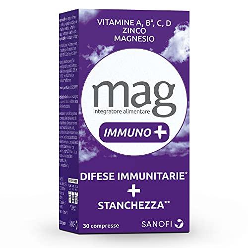 Mag Immuno+, Integratore Alimentare, Integratore Stanchezza, Difese Immunitarie, Zinco, Ferro, Rame, Selenio, Vitamine B6, B12, 30 Compresse