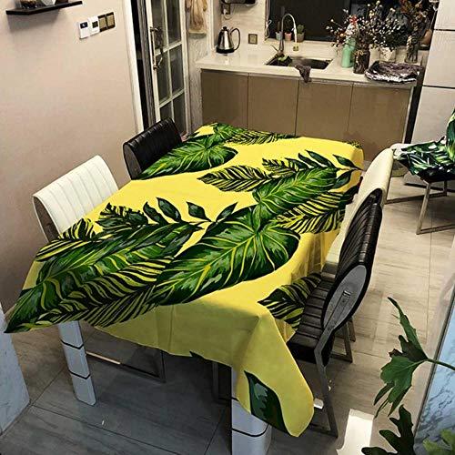GHGD 90X90 Cm-Mantel Cuadrado Moderno De Hoja Verde Cubierta De Tela De Mesa De Café Cubierta De Tela De Comedor Rectangular Mantel Decoración De La Habitación