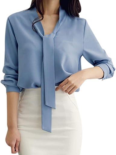 Berimaterry Moda Camiseta sólida Mujer chifón Blusas de ...
