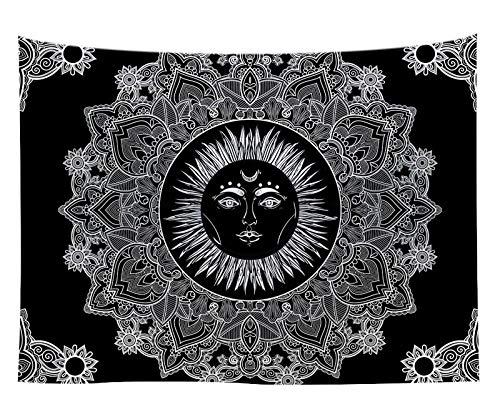 WERT Tapiz de Mandala Yin Yang, decoración del hogar, Tapiz Negro para Colgar en la Pared, Tapiz de chismes, Tapiz de Tela, Tapiz de Fondo, Tela A11 130x150cm