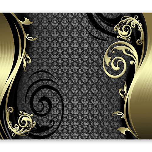murando Fototapete 300x210 cm Vlies Tapeten Wandtapete XXL Moderne Wanddeko Design Wand Dekoration Wohnzimmer Schlafzimmer Büro Flur Abstrakt Ornament schwarz gold violett braun a-A-0032-a-b