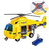 HERSITY Hélicoptère Jouet Avion avec Son et Lumière Cadeau pour Enfants Garçon Fille 3 Ans+ (Jaune)
