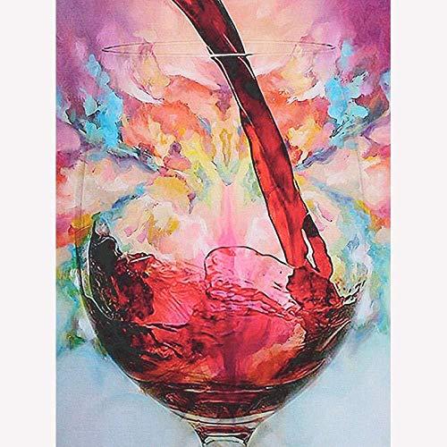 LSDEERE Malen nach Zahlen Kreatives Weinglas DIY Ölgemälde Geschenk für Erwachsene Kinder Malen Nach Zahlen Kits 40x50 cm (Ohne Rahmen) hp66l